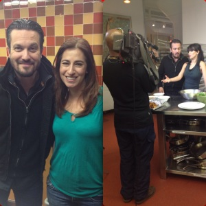 On an Extra TV shoot with Fabio from Top Chef & Hilaria Baldwin